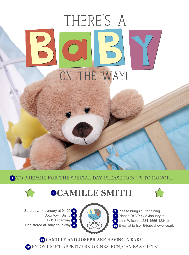 baby shower teddy flyer ticket printing