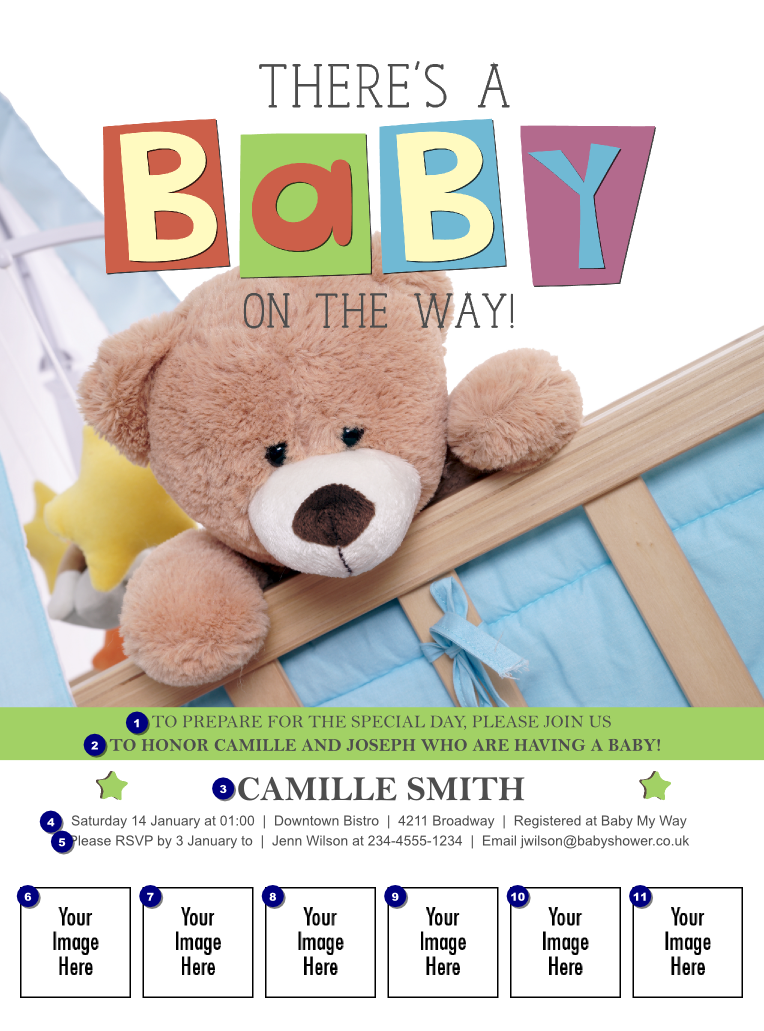 baby shower teddy logo flyer ticket printing