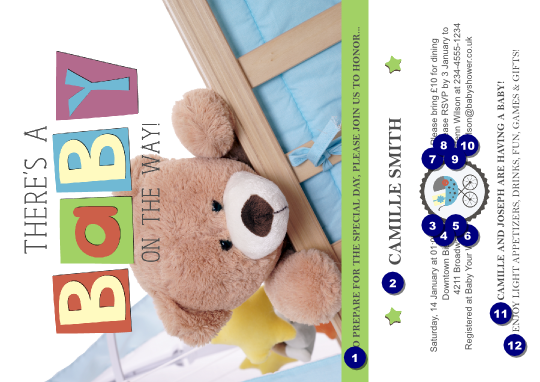 baby shower teddy logo postcard ticket printing
