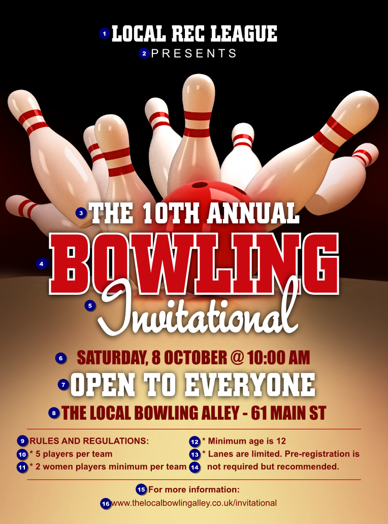 Bowling League Flyer Ticket Printing