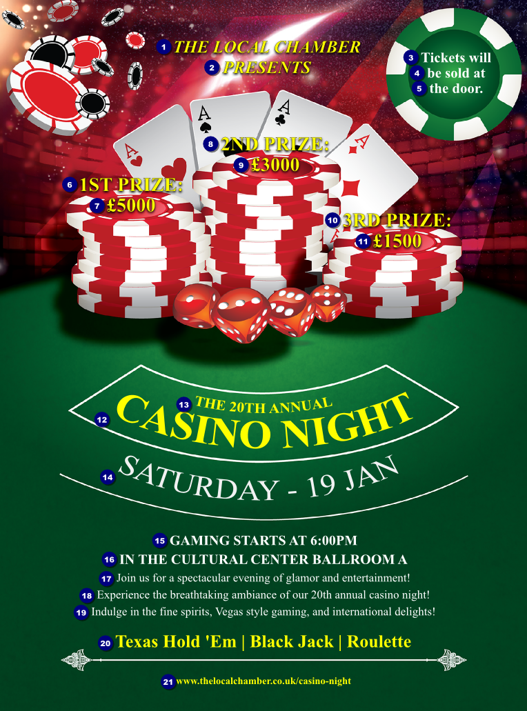 Casino Chips Flyer - Ticket Printing: https://www.ukticketprinting.co.uk/Posters-and-Flyers/Details...
