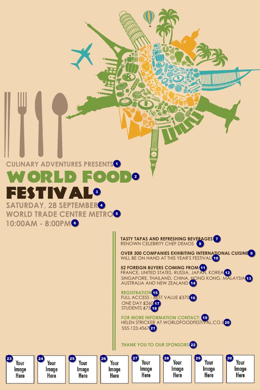 food festival poster ticket printing. Black Bedroom Furniture Sets. Home Design Ideas