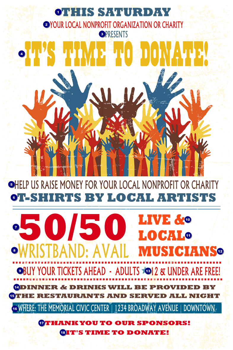 Fundraising Hands Poster - Ticket Printing