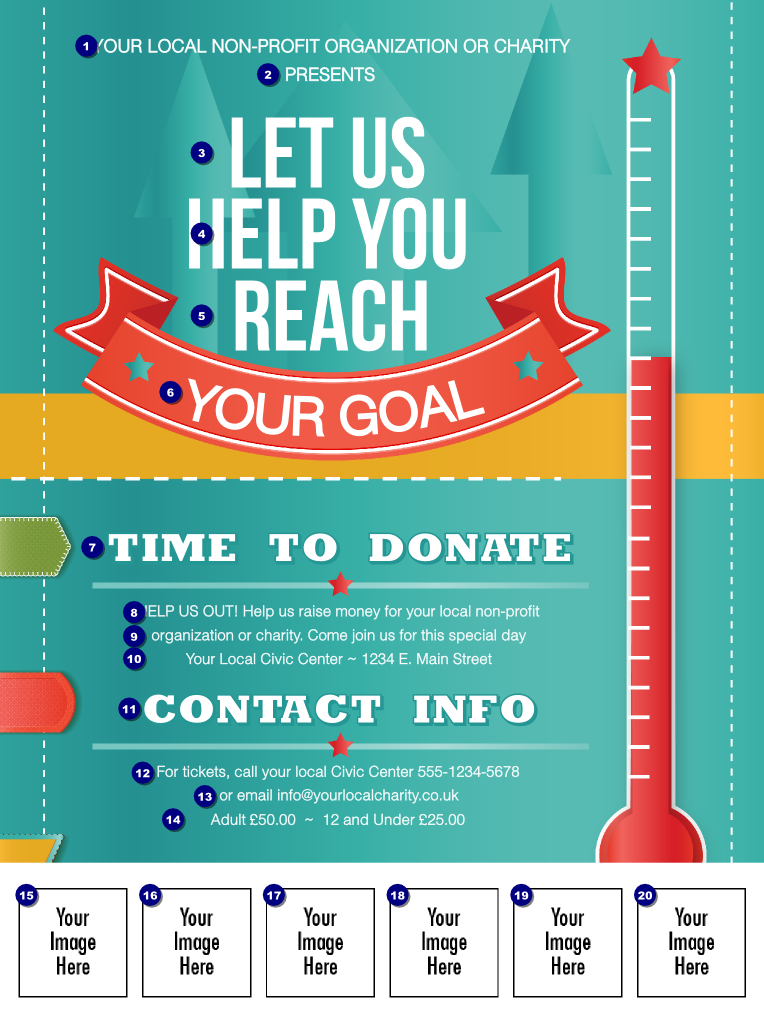 fundraising thermometer logo flyer