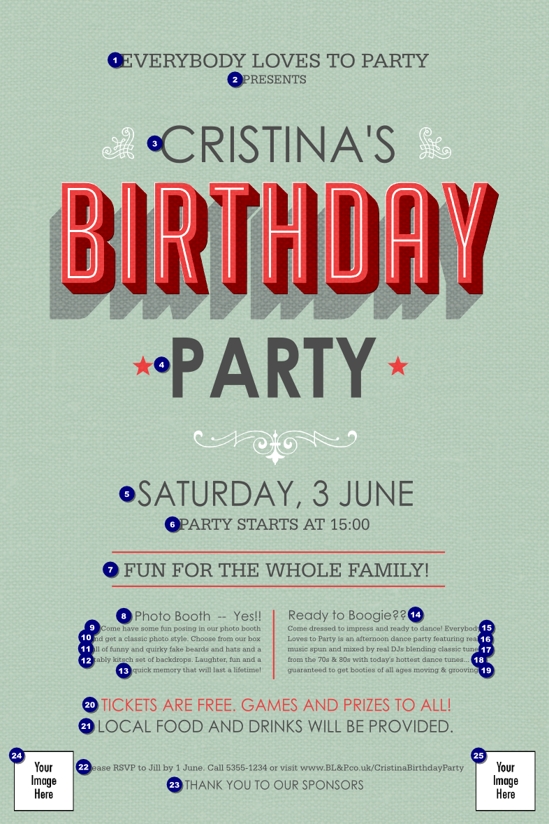 Birthday Party Green Poster - Ticket Printing
