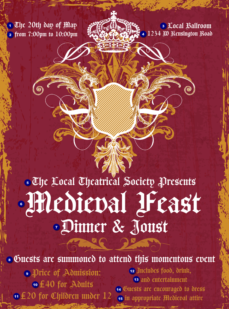 Medieval Banquet Flyer Ticket Printing