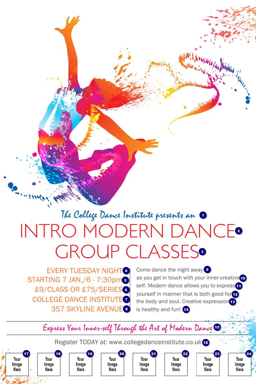 modern dance white logo poster   ticket printing