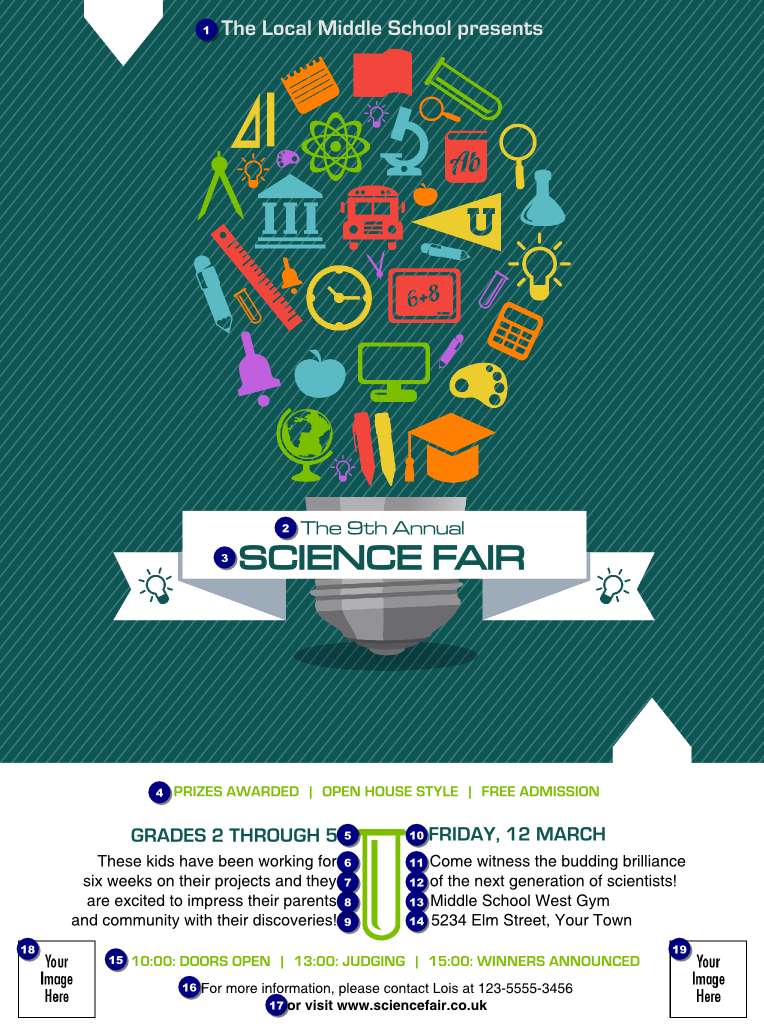 Science fair flyer ticket printing for Science fair poster templates