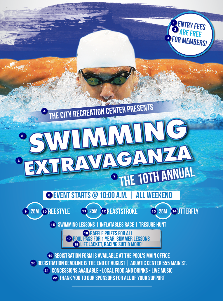 Swimming Flyer Ticket Printing