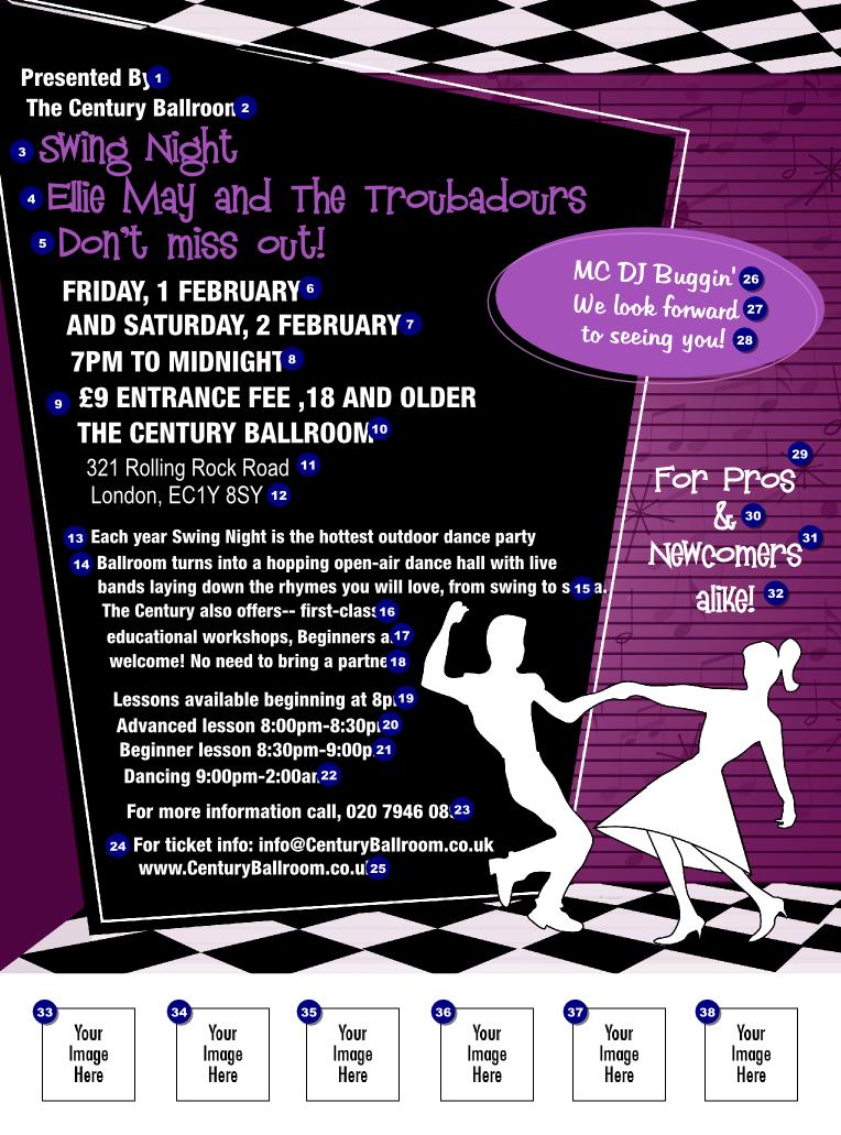 Swing dance purple flyer ticket printing for 1234 get on the dance floor full song