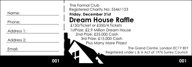 Dream House Raffle Ticket Black and White