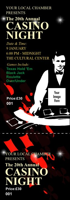 Casino Dealer Event Ticket Product Front