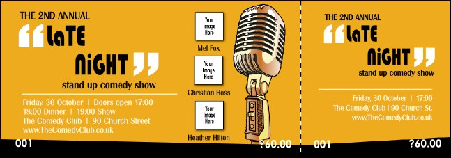 Comedy Retro Microphone Event Ticket