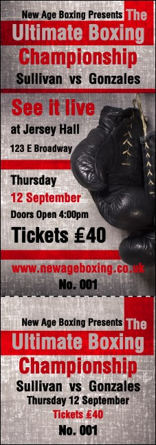 Boxing Gloves Event Ticket