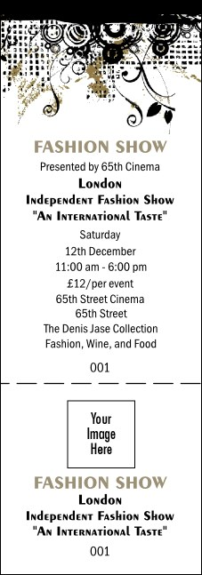 Gold fashion show general admission ticket for Fashion show ticket template