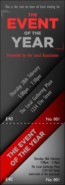 Red and Silver Event Ticket Product Front