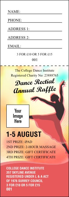 Dance Silhouette Raffle Ticket Product Front