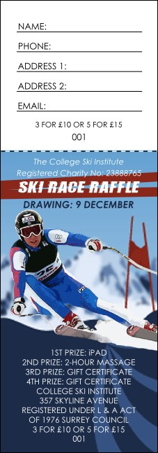 Ski Race Raffle Ticket
