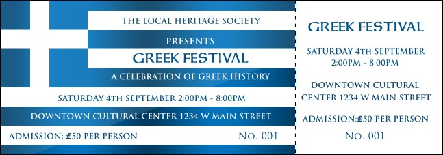 Greek Flag Event Ticket