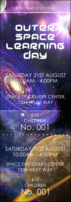 Outer space event ticket for Outer space design australia