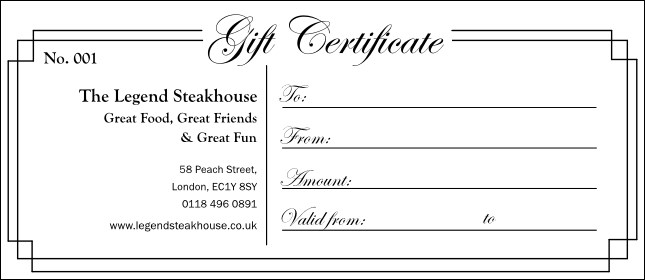 Black and White Gift Certificate 003 Product Front