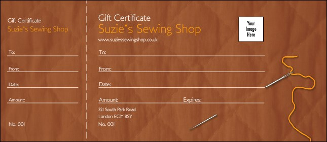 Sewing and Quilt Gift Certificate 002