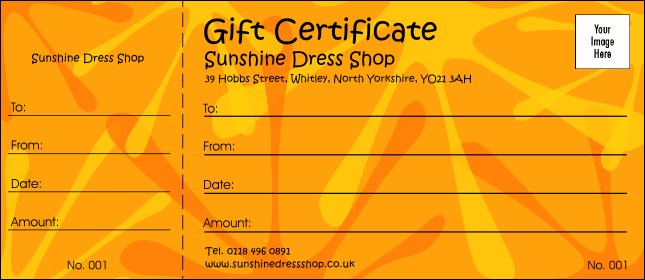 Orange Fun Gift Certificate