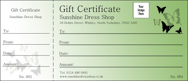 Butterfly Gift Certificate 002