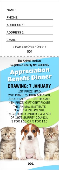 Animal Rescue Raffle Ticket