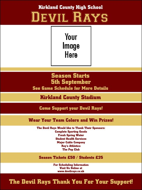 Sports Flyer 001 in Maroon and Gold