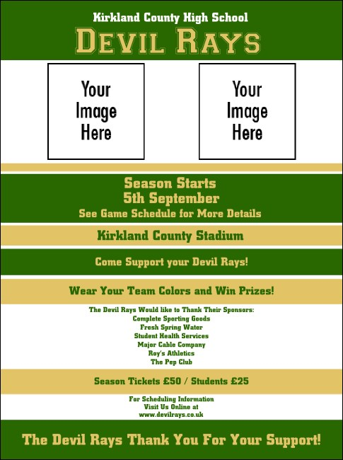 Sports Flyer 002 in Green and Gold