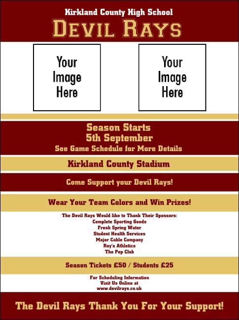 Sports Flyer 002 in Maroon and Gold