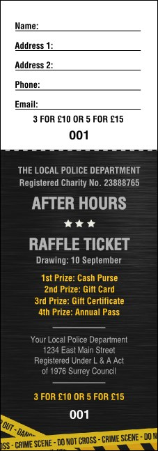Police Caution Tape Raffle Ticket