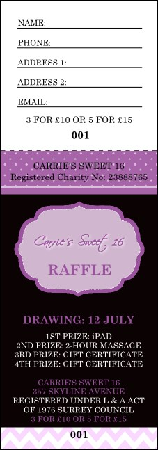Sweet Sixteen Purple Chevron Raffle Ticket