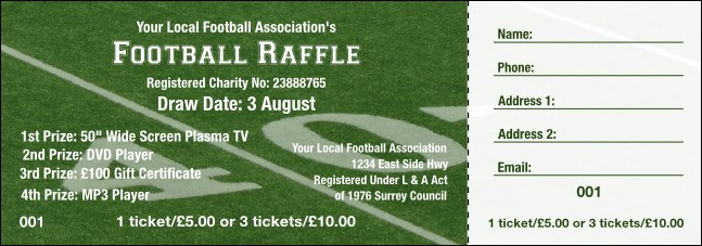 Football Raffle 003 Raffle Ticket