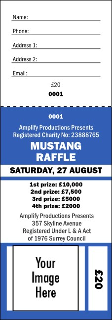 Your Image Raffle Ticket 001 Blue Product Front