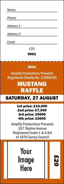 Your Image Raffle Ticket 001 Orange
