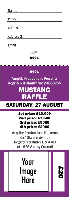 Your Image Raffle Ticket 001 Purple