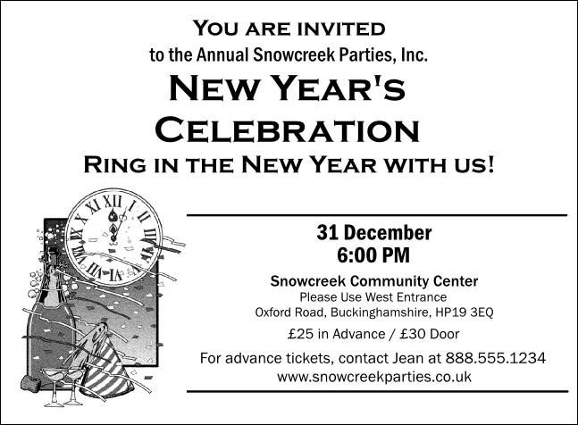black and white new years invitation 001