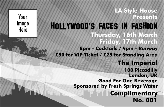 Hollywood BW Drink Ticket