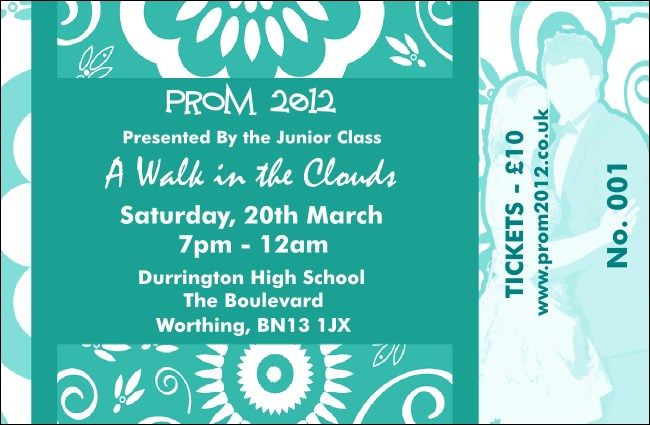 Turquoise Prom Drink Ticket