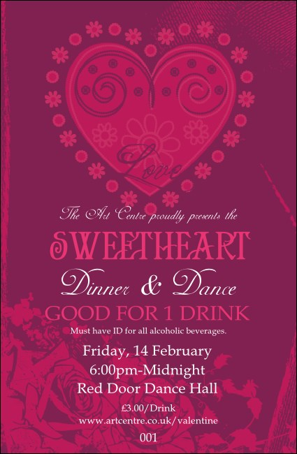 Valentines Heart Drink Ticket