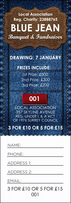 Blue Jeans Raffle Ticket