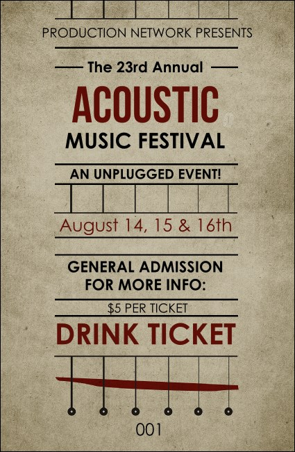 Acoustic Strings Drink Ticket