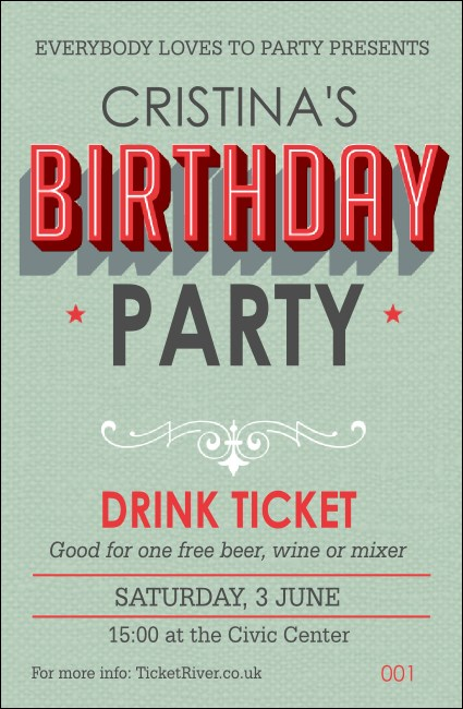 Birthday Party Green Drink Ticket