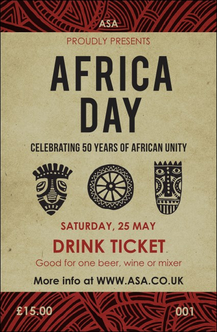 African Theme Drink Ticket