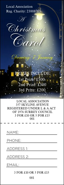 Christmas Carol Raffle Ticket Product Front