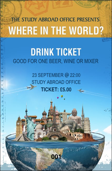 World Travel Drink Ticket Product Front