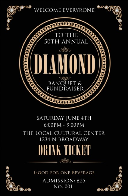 Diamonds Black Drink Ticket