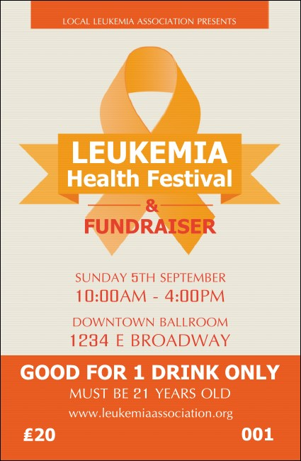 Leukemia Drink Ticket Product Front